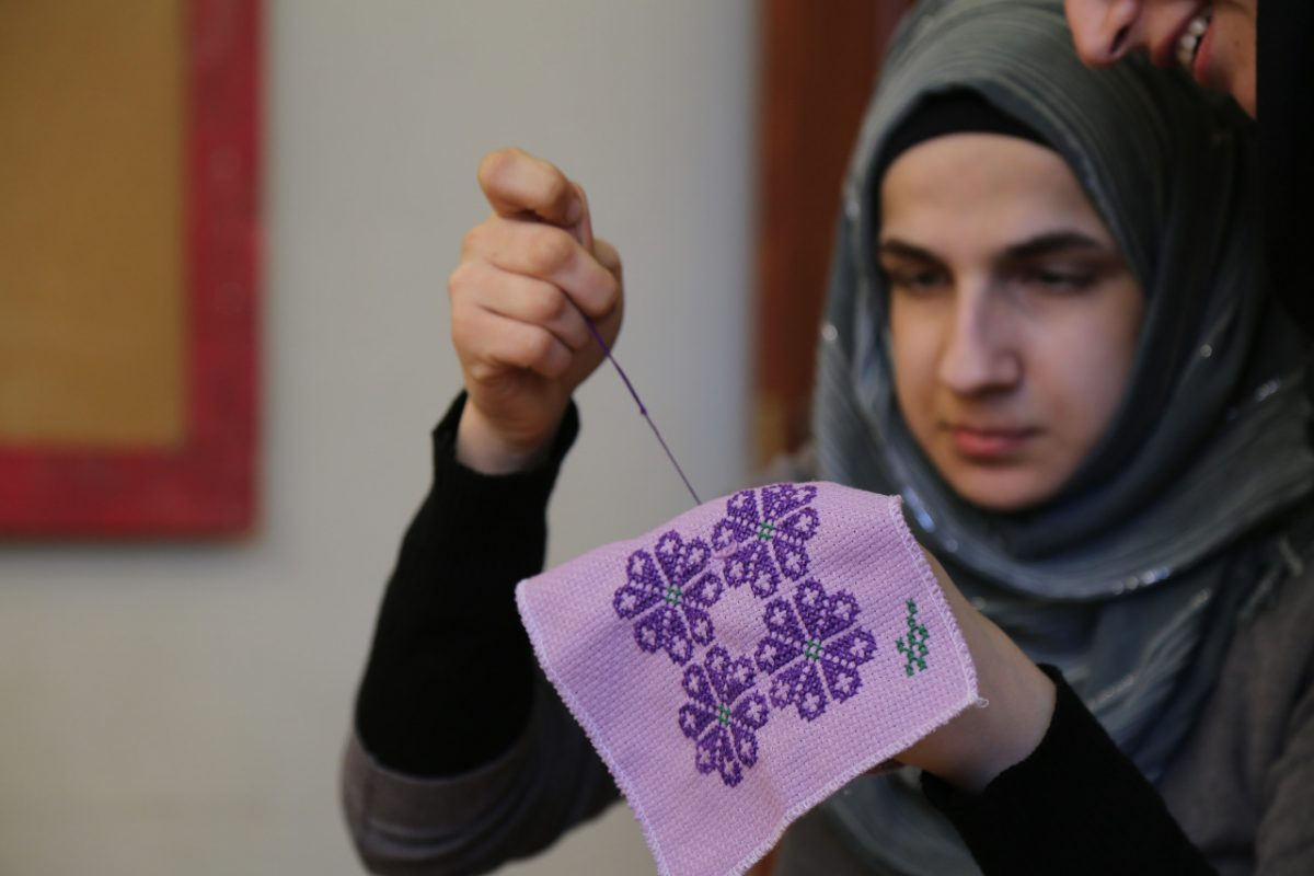Palestinian embroidery at Al-Hanin Centre, Palestinian refugee camp, Lebanon, February 2016.