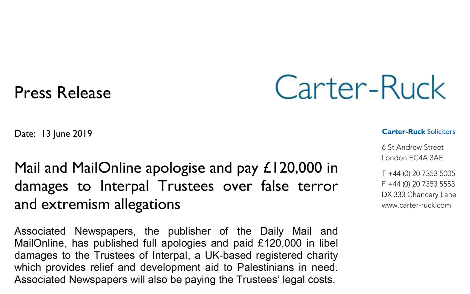 Mail and MailOnline apologise and pay £120,000 in damages to Interpal Trustees over false terror and extremism allegations