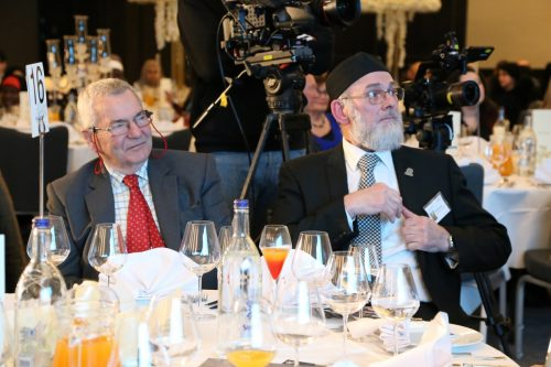 Patrick Orr and Interpal's Chairman Ibrahim Hewitt at Interpal's 25th Anniversary Dinner on November 30, 2019