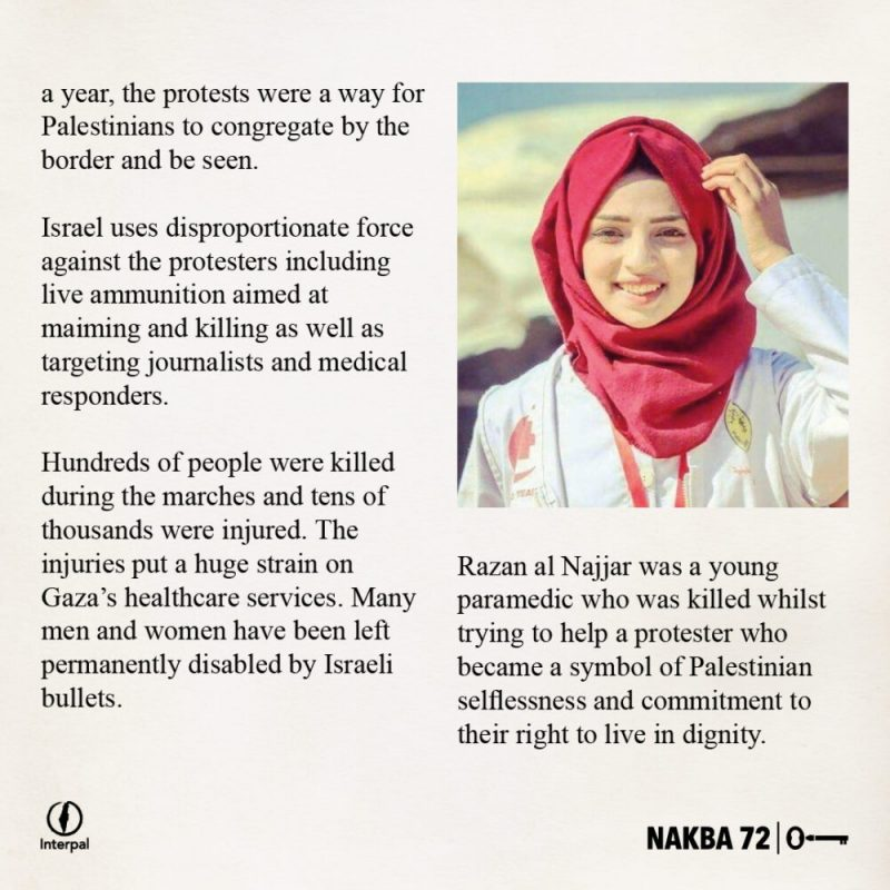 Interpal Nakba 72 Timeline 2018 B